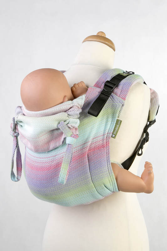 Lenny Buckle Onbuhimo, toddler size, herringbone weave (100% cotton) - Wrap conversion from LITTLE HERRINGBONE IMPRESSION #babywearing