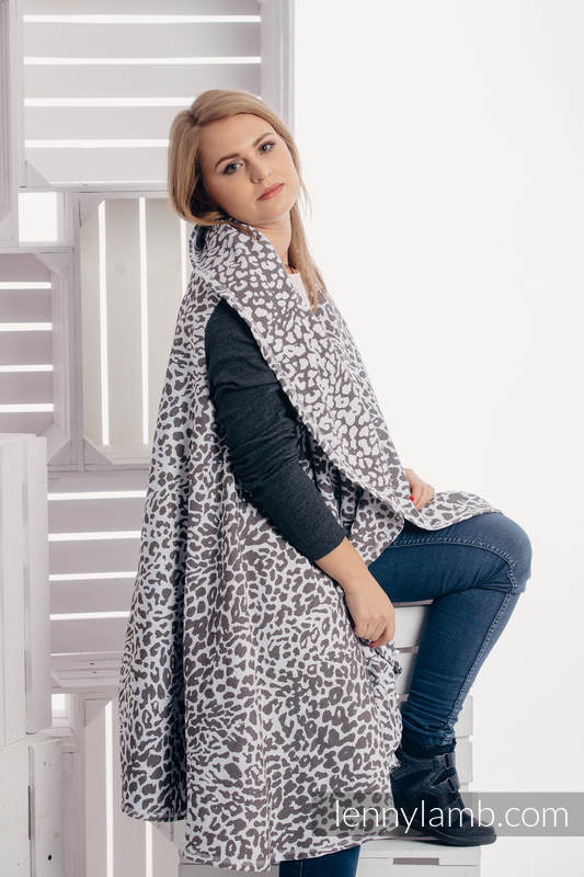 Long Cardigan - plus size - Cheetah Dark Brown & White #babywearing