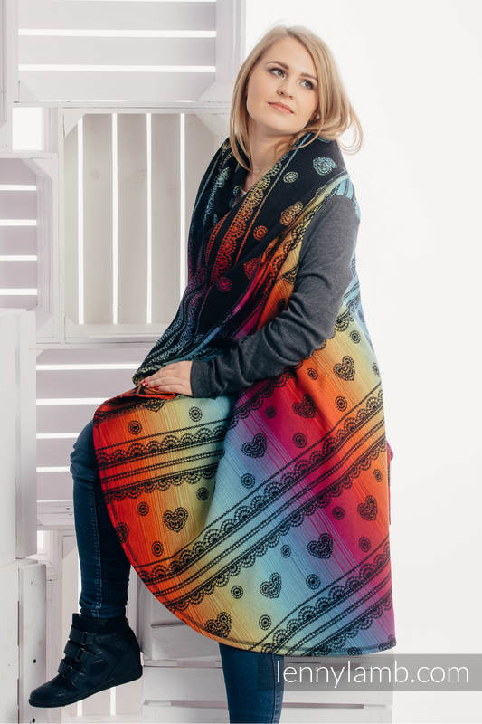 Long Cardigan - plus size - Rainbow Lace Dark #babywearing