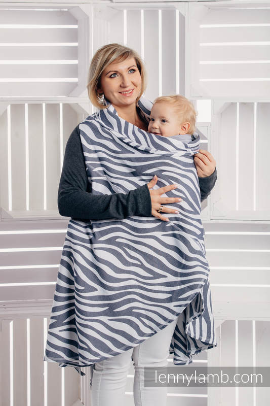 Long Cardigan - plus size - Zebra Graphite & White