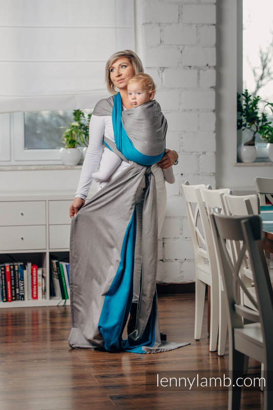Basic Line Baby Sling - SODALITE, Broken Twill Weave, 100% cotton, size L #babywearing