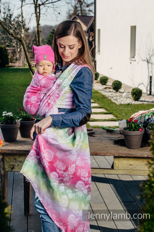 Baby Wrap, Jacquard Weave (100% cotton) - ROSE BLOSSOM - size XL #babywearing
