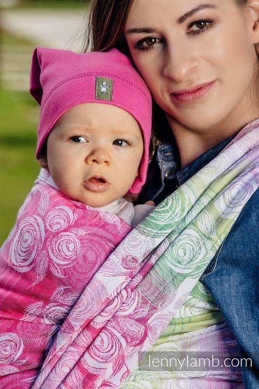 Baby Wrap, Jacquard Weave (100% cotton) - ROSE BLOSSOM - size L #babywearing
