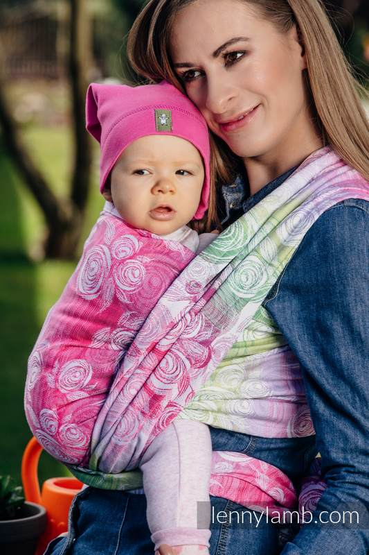 Baby Wrap, Jacquard Weave (100% cotton) - ROSE BLOSSOM - size XS #babywearing