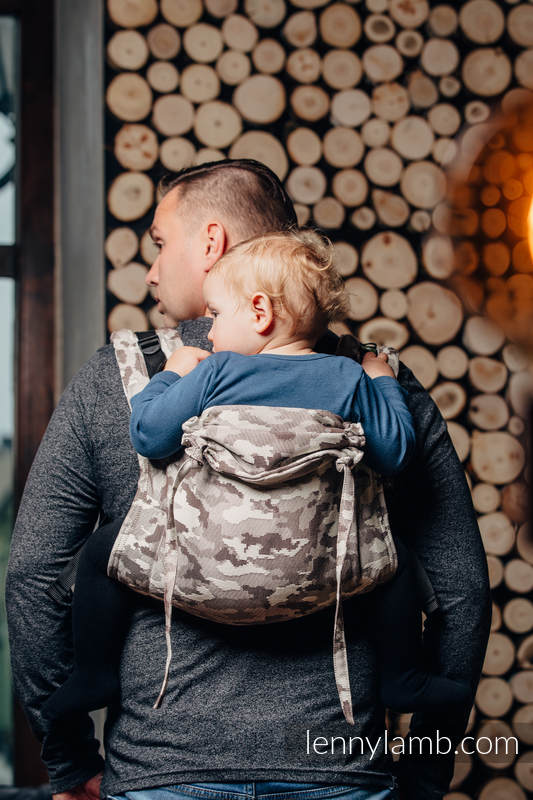 Lenny Buckle Onbuhimo, standard size, jacquard weave (100% cotton) - Wrap conversion from BEIGE CAMO #babywearing