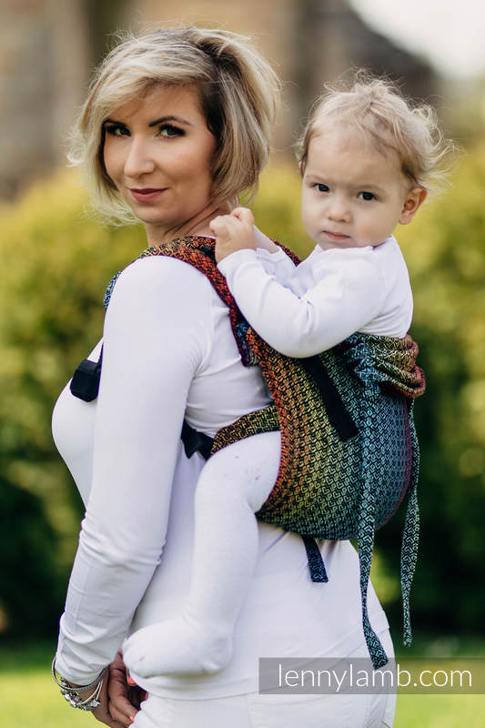 Lenny Buckle Onbuhimo, toddler size, jacquard weave (100% cotton) - Wrap conversion from LITTLE LOVE RAINBOW DARK #babywearing
