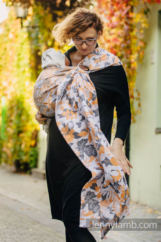 Ringsling, Jacquard Weave (100% cotton) - with gathered shoulder - WHIFF OF AUTUMN #babywearing