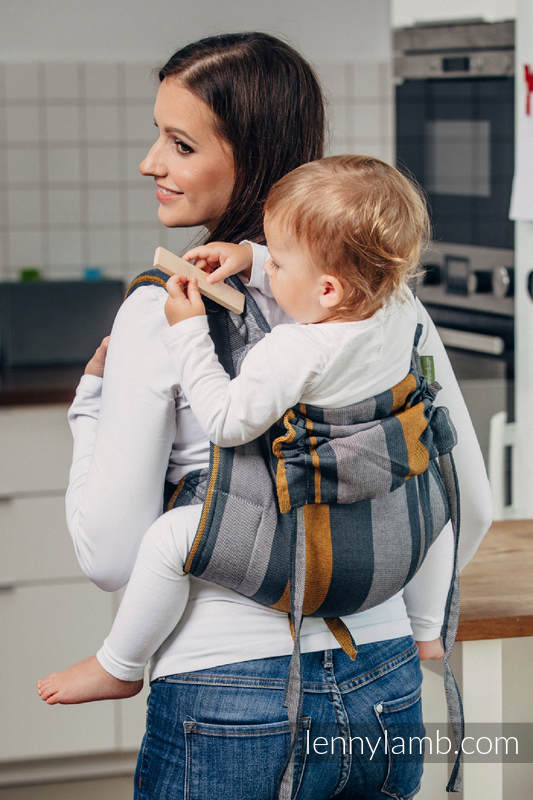 Lenny Buckle Onbuhimo, toddler size, broken-twill weave (100% cotton) - Wrap conversion from SMOKY - HONEY #babywearing