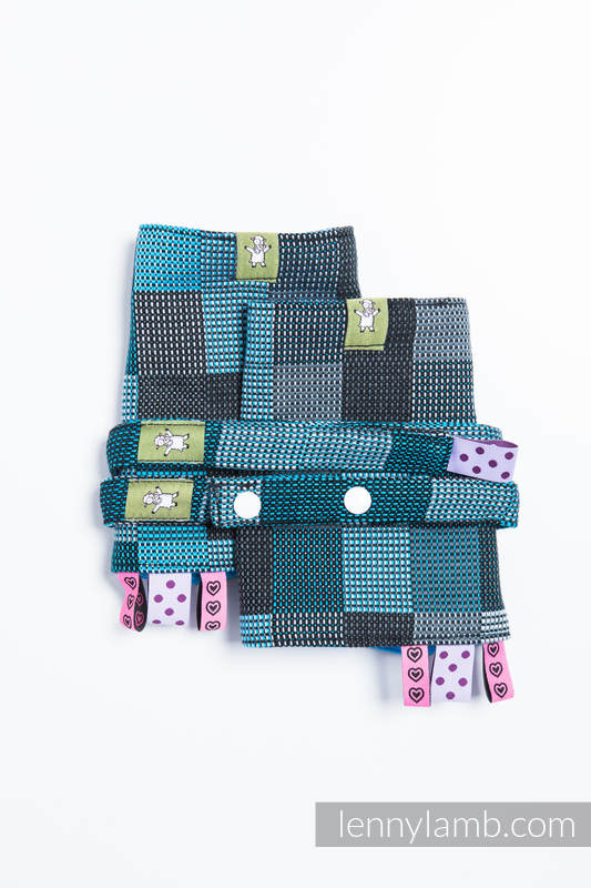 Drool Pads & Reach Straps Set, (100% cotton) - QUARTET RAINY  #babywearing