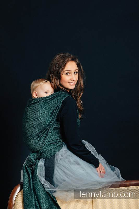 Baby Wrap, Jacquard Weave (60% cotton 28% linen 12% tussah silk) - LITTLE LOVE - IVY - size M #babywearing