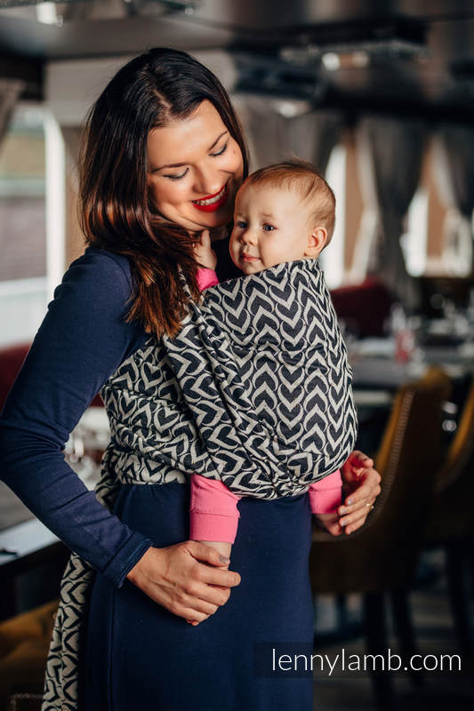 Baby Wrap, Jacquard Weave (44% combed cotton, 56% Merino wool) - CHAIN OF LOVE - size S #babywearing