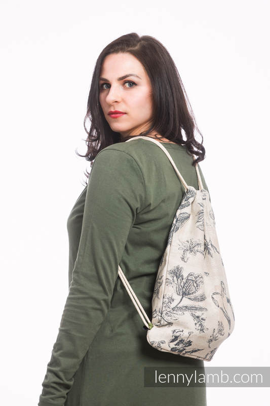 Sackpack made of wrap fabric (100% cotton) - HERBARIUM - standard size 32cmx43cm #babywearing
