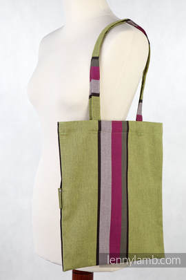 Shopping bag made of wrap fabric (100% cotton) - LIME & KHAKI - standard size 33cmx39cm