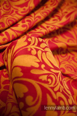 Baby Wrap, Jacquard Weave (100% cotton) - Twisted Leaves Red & Orange- size S (grade B)