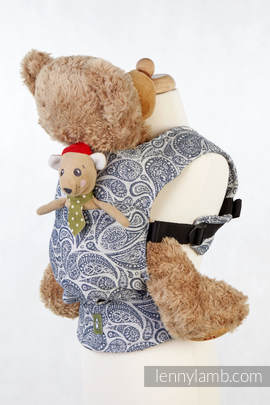 Doll Carrier made of woven fabric, 100% cotton  - PAISLEY NAVY BLUE & CREAM