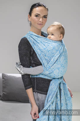 Baby Wrap, Jacquard Weave (100% cotton) - PAISLEY TURQUOISE & CREAM - size XS (grade B)