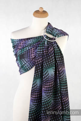 Ringsling, Jacquard Weave (100% cotton), with gathered shoulder - DISCO BALLS (grade B)