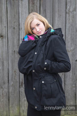 Parka Babywearing Coat - size XXL - Black & Diamond Plaid
