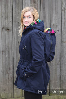Parka Babywearing Coat - size XL - Navy Blue & Diamond Plaid