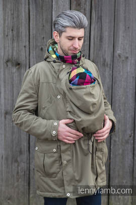Parka Babywearing Coat - size XL - Khaki & Diamond Plaid (grade B)