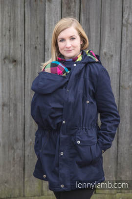 Parka Babywearing Coat - size XXL - Navy Blue & Diamond Plaid (grade B)