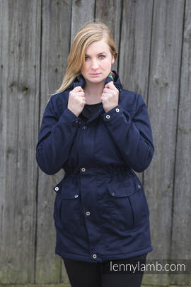 Parka Coat - size L - Navy Blue & Diamond Plaid (grade B)