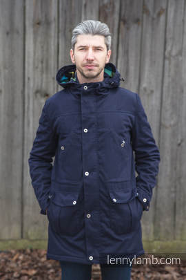 Parka Coat - size S - Navy Blue & Diamond Plaid