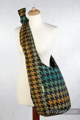 Hobo Bag made of woven fabric, 100% cotton - PEPITKA GREEN & YELLOW
