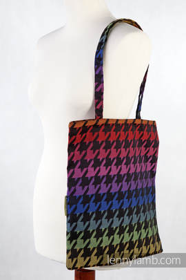 Shopping bag made of wrap fabric (100% cotton) - RAINBOW PEPITKA (grade B)