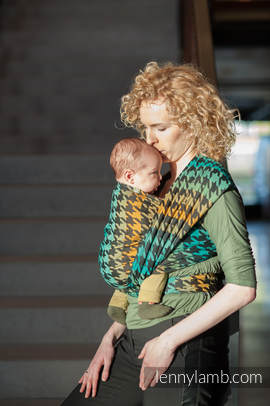 Baby Wrap, Jacquard Weave (100% cotton) - PEPITKA GREEN & YELLOW- size L