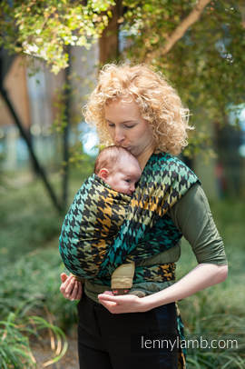 Baby Wrap, Jacquard Weave (100% cotton) - PEPITKA GREEN & YELLOW- size XL