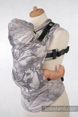 Ergonomic Carrier, Toddler Size, jacquard weave 100% cotton - wrap conversion from POSEIDON HIPPOS (with horses on the panel)
