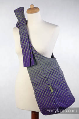 Hobo Bag made of woven fabric, 100% cotton - ICICLES PURPLE & GREEN