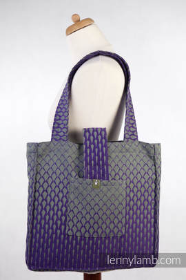 Shoulder bag made of wrap fabric (100% cotton) - ICICLES PURPLE & GREEN - standard size 37cmx37cm