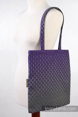 Shopping bag made of wrap fabric (100% cotton) - ICICLES PURPLE & GREEN - standard size 33cmx39cm (grade B)