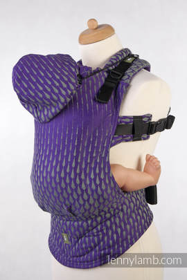 Ergonomic Carrier, Baby Size, jacquard weave 100% cotton - wrap conversion from ICICLES PURPLE & GREEN, Second Generation (grade B)