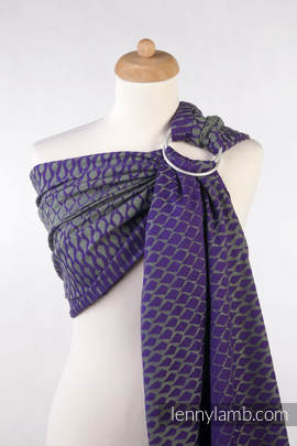 Ringsling, Jacquard Weave (100% cotton) - ICICLES PURPLE & GREEN - with gathered shoulder (grade B)