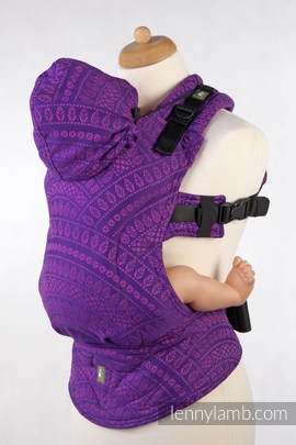 Ergonomic Carrier, Toddler Size, jacquard weave 100% cotton - wrap conversion from PEACOCK'S TAIL PURPLE & PINK, Second Generation
