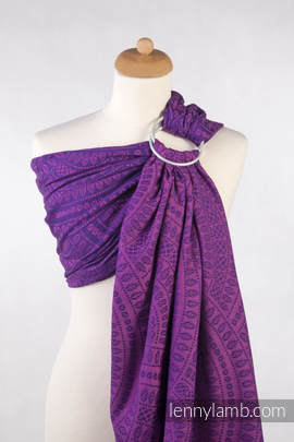 Ringsling, Jacquard Weave (100% cotton) - PEACOCK'S TAIL PURPLE & PINK - with gathered shoulder (grade B)