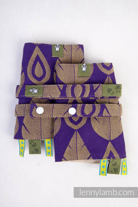 Drool Pads & Reach Straps Set, (100% cotton) - NORTHERN LEAVES PURPLE & YELLOW (grade B)