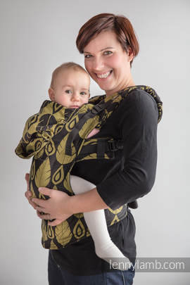 Ergonomic Carrier, Baby Size, jacquard weave 100% cotton - wrap conversion from NORTHERN LEAVES BLACK & YELLOW, Second Generation (grade B)