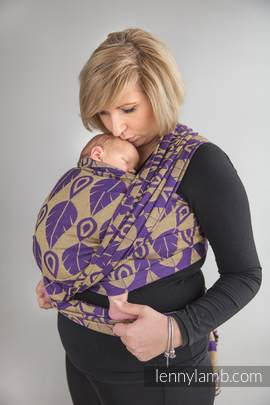 Baby Wrap, Jacquard Weave (100% cotton) - NORTHERN LEAVES PURPLE & YELLOW - size L