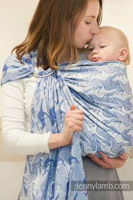 Ringsling, Jacquard Weave (100% cotton), with gathered shoulder - BLUE TWOROOS (grade B)