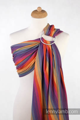 Ring Sling - 100% Cotton - Broken Twill Weave - with gathered shoulder - SUNSET RAINBOW COTTON