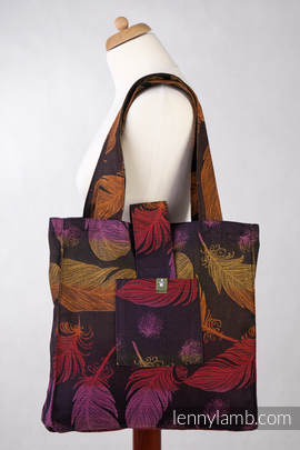 Shoulder bag made of wrap fabric (100% cotton) - FEATHERS ON FIRE - standard size 37cmx37cm