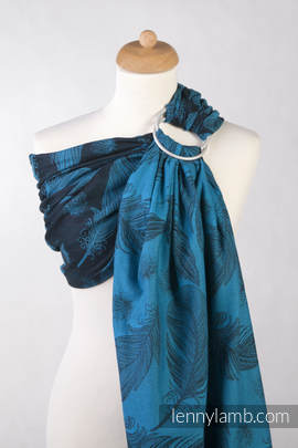 Ringsling, Jacquard Weave (100% cotton) - Feathers Turquoise & Black - with gathered shoulder (grade B)