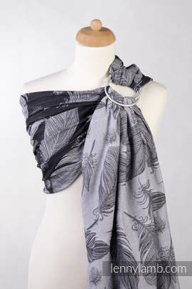 Ringsling, Jacquard Weave (100% cotton) - FEATHERS BLACK & WHITE - with gathered shoulder (grade B)