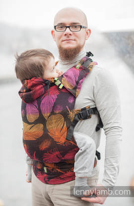 Ergonomic Carrier, Toddler Size, jacquard weave 100% cotton - wrap conversion from FEATHERS ON FIRE