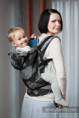 Ergonomic Carrier, Toddler Size, jacquard weave 100% cotton - wrap conversion from FEATHERS BLACK & WHITE