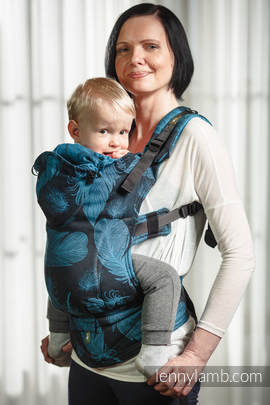 Ergonomic Carrier, Baby Size, jacquard weave 100% cotton - wrap conversion from FEATHERS TURQUOISE & BLACK